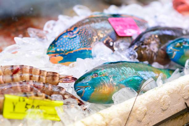 Colourful catch Colourful fresh fish at a market stall. naha stock pictures, royalty-free photos & images
