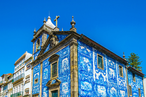 Colourful chapel of souls in Porto, Portugal.