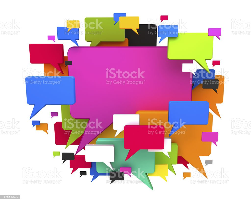 Colourful chat clouds isolated on whited royalty-free stock photo