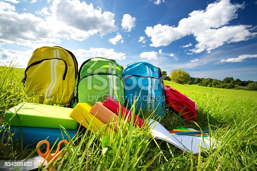 istock Colourful children schoolbags outdoors on the field 834369132