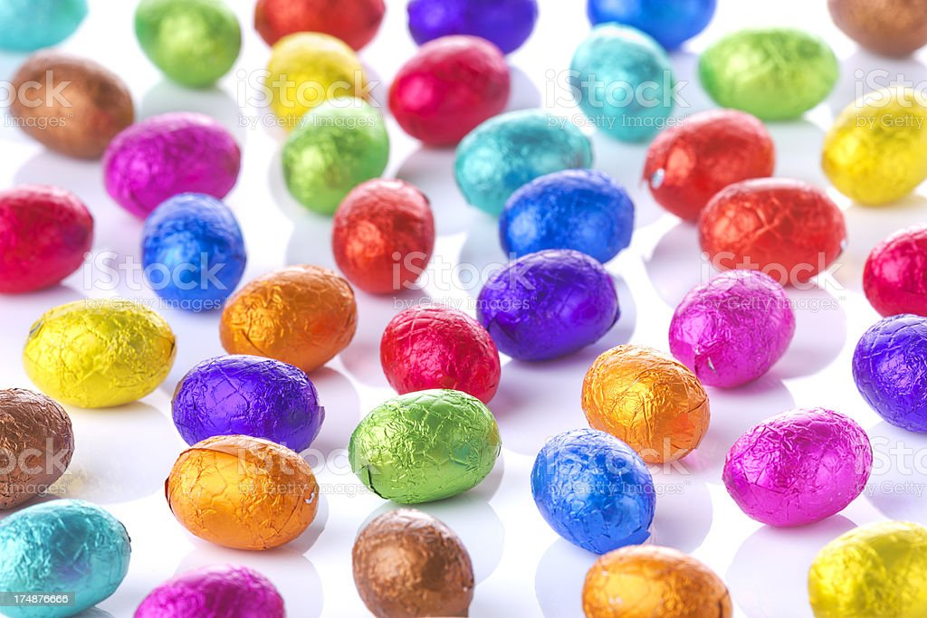 Colourful chocolate Easter eggs on a white background royalty-free stock photo
