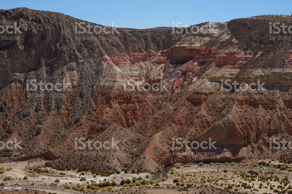 Colourful cliffs on the Altiplano stock photo
