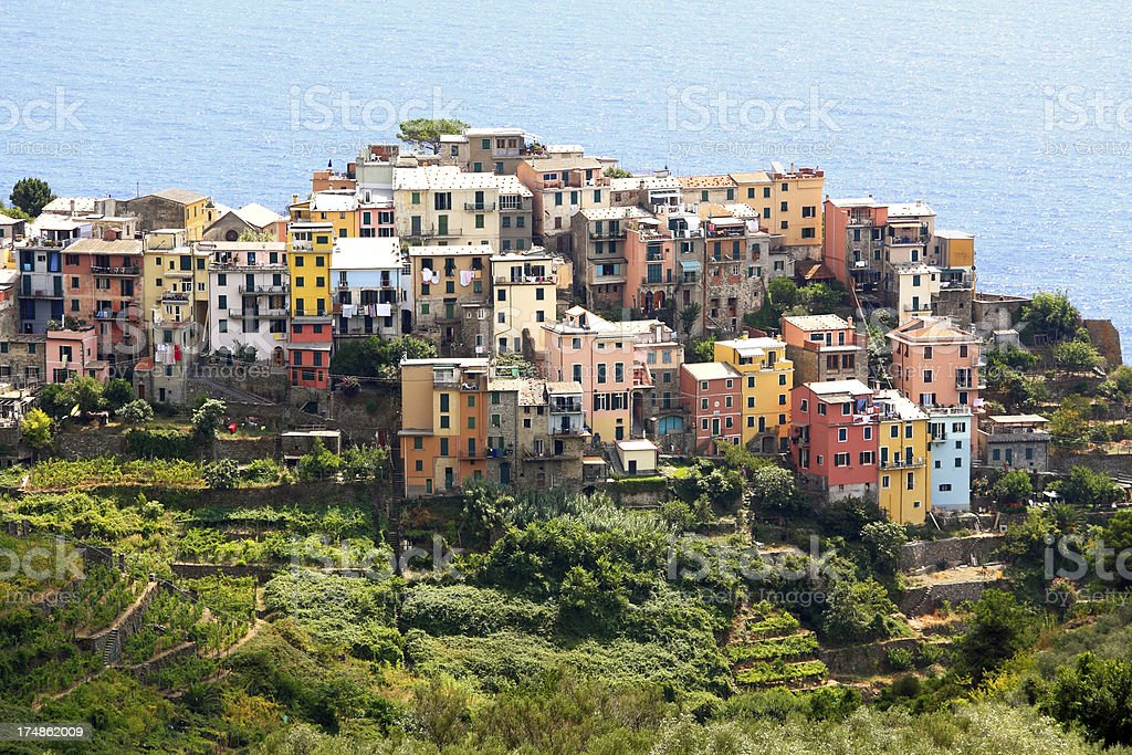 Colourful coastal hilltop village of Corniglia royalty-free stock photo