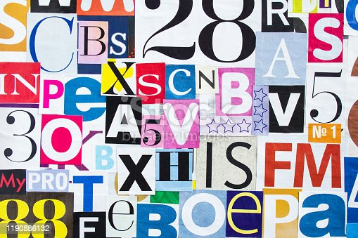 546439664 istock photo Colourful collage of gloss pieces magazine paper with letters and numbers background. 1190886132