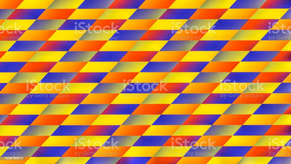 Colourful diagonal check pattern fractal deformation stock photo