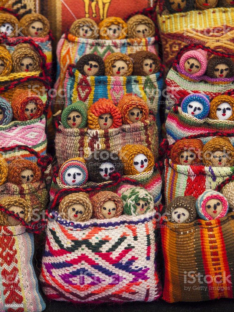 Colourful Dolls in Pisac, Peru stock photo
