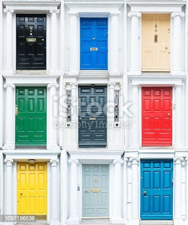 Collection of 6 colourful wood doors.
