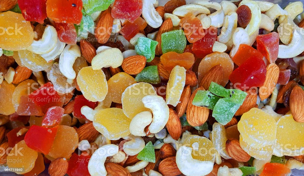 colourful dry fruits and nuts in a shop for sale royalty-free stock photo