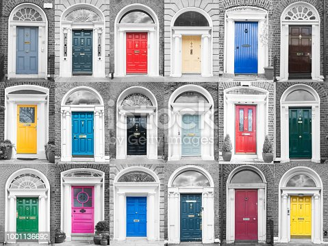 Colourful Dublin doors on black and white walls