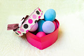 Close-up of colourful Easter eggs. Side view point.
