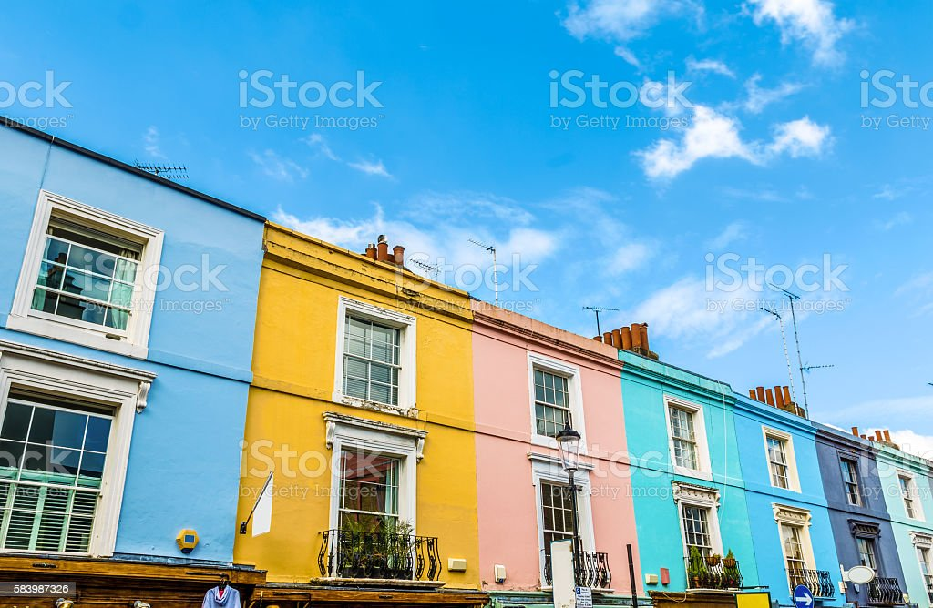 Colourful English Terraced Houses stock photo