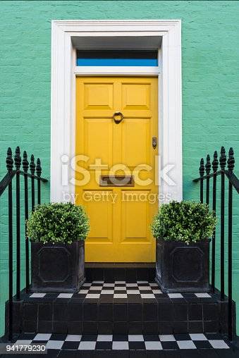 istock Colourful Entry & Door to a 18th Century Georgian London House, UK. 941779230