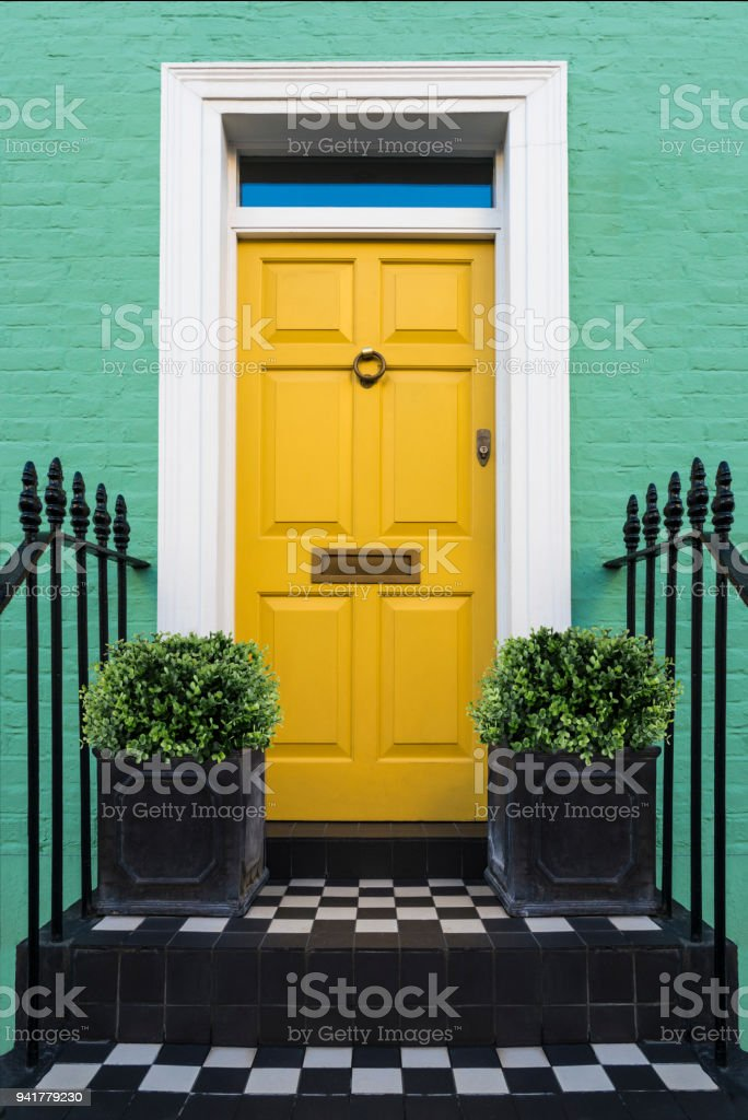 Colourful Entry & Door to a 18th Century Georgian London House, UK. stock photo