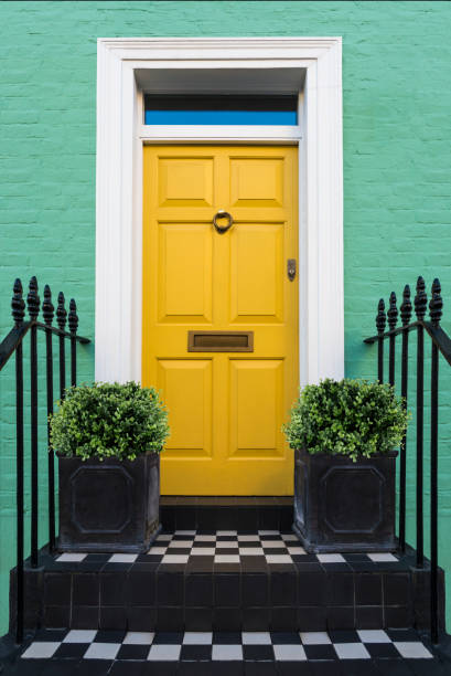 Colourful Entry & Door to a 18th Century Georgian London House, UK. Colourful Entry & Door to a 18th Century Georgian London House, UK. front door stock pictures, royalty-free photos & images