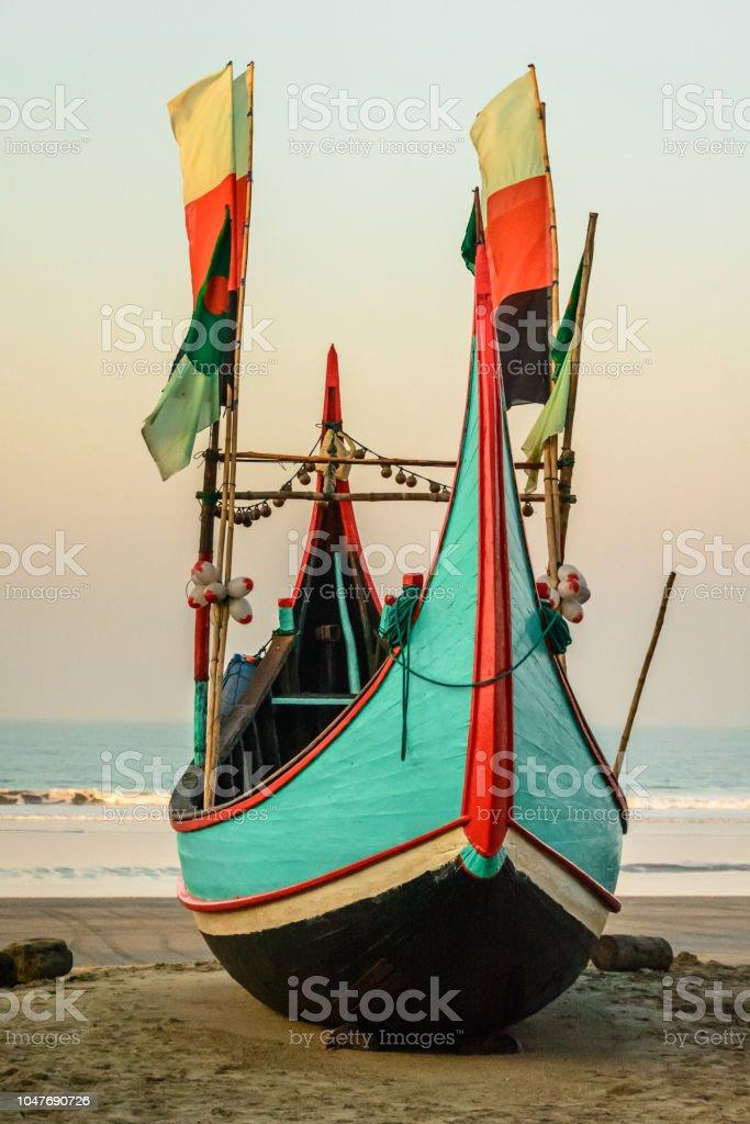 Colourful Fishing Boat Anchor at Teknaf Beach Shore, Cox's Bazar stock photo