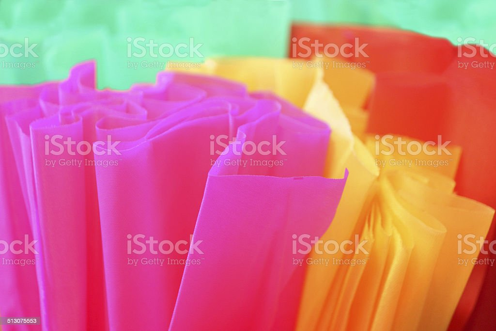 Colourful Florescent Tissue Paper - Pink, Yellow, Orange Green Colours stock photo