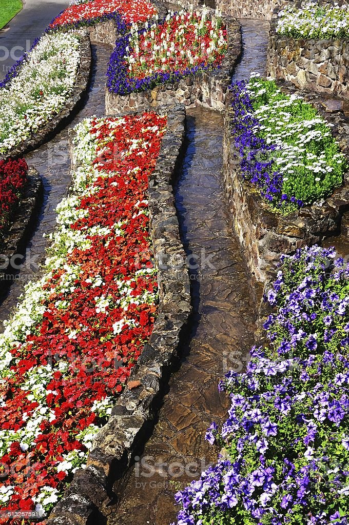 Colourful flowerbeds with pathways. stock photo