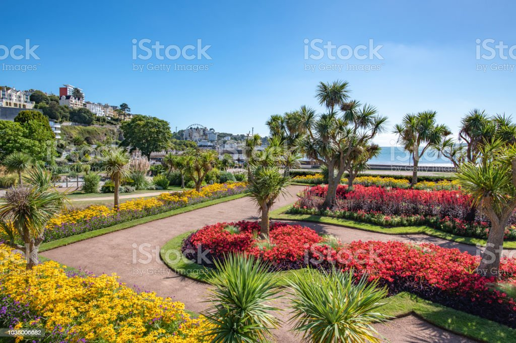 Colourful flowers in Abbey Park in Torquay, Devon stock photo