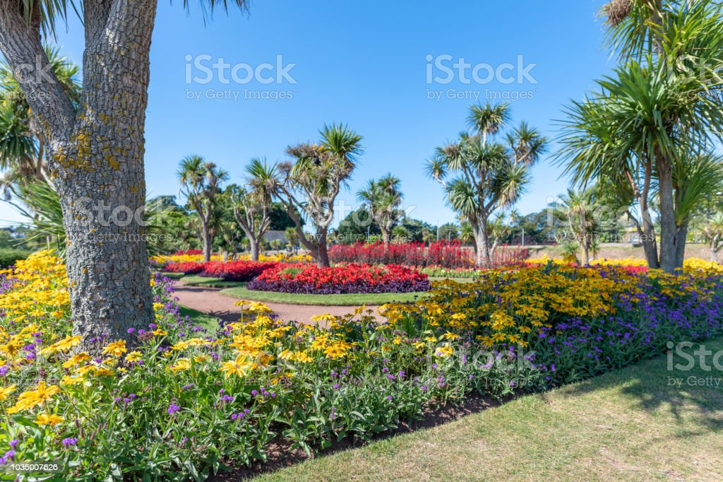 Colourful flowers in Abbey Park in Torquay, Devon stock photo