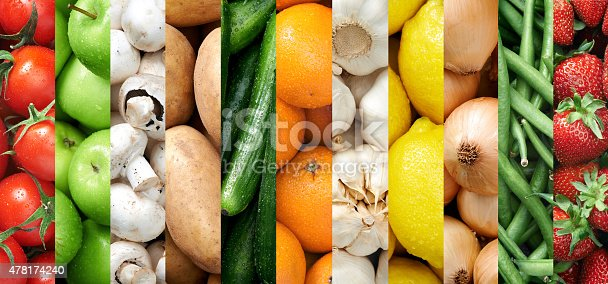 istock Colourful fruit and vegetable backgrounds collage 478174240