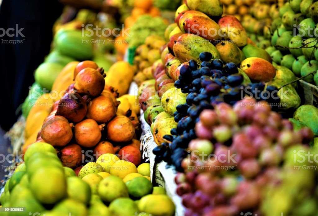 Colourful fruits at a market royalty-free stock photo