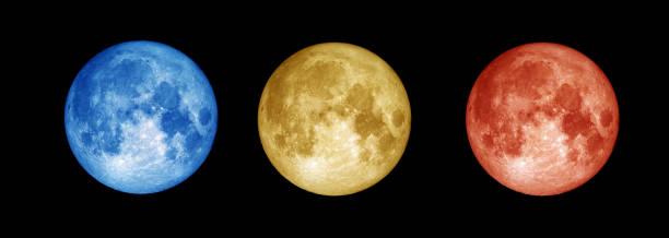 Colourful full Moon on blackcompilation stock photo