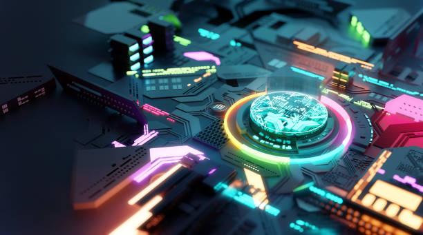 Buntes futuristisches Prozessor-CPU-Konzept – Foto