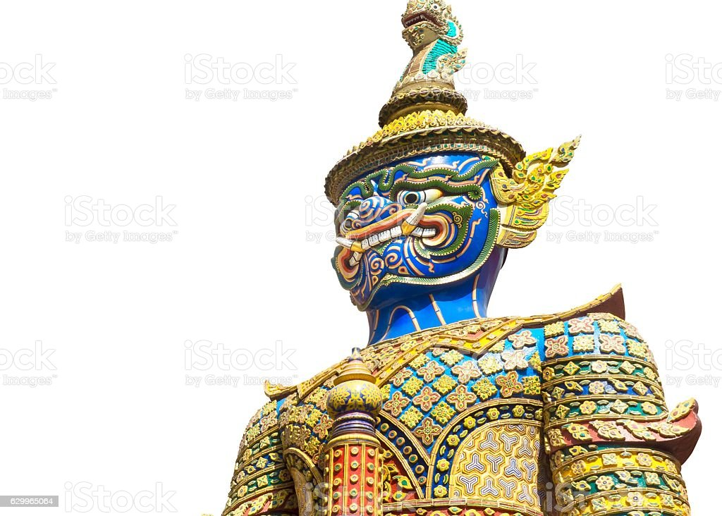 Colourful Giant Sculpture at Emerald Buddha Temple stock photo