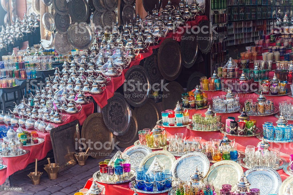 Colourful Glassware and BrassTrays at Marakkesh Souk, Morocco stock photo