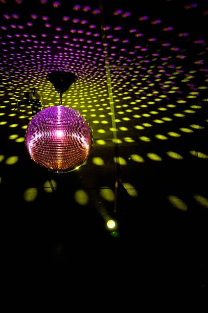 Colourful glitter mirrorball in disco 3 stock photo