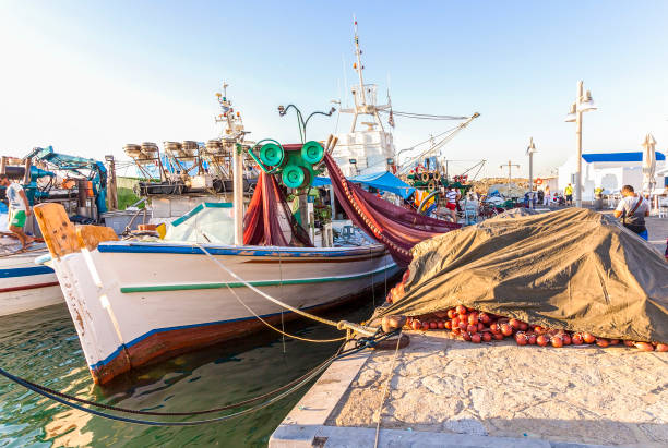 Colourful Greek Fishing Boats. Editorial Image stock photo