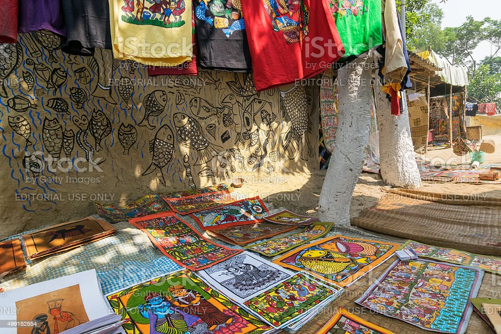 Colourful Handicrafts Being Prepared For Sale In Pingla Village