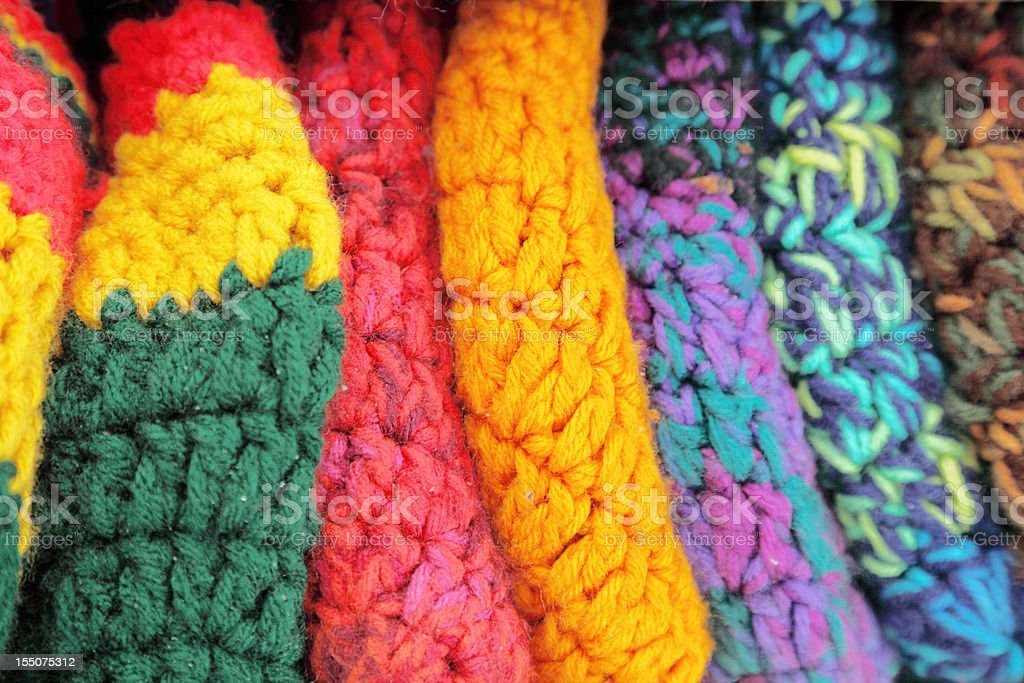colourful handknitted hats royalty-free stock photo