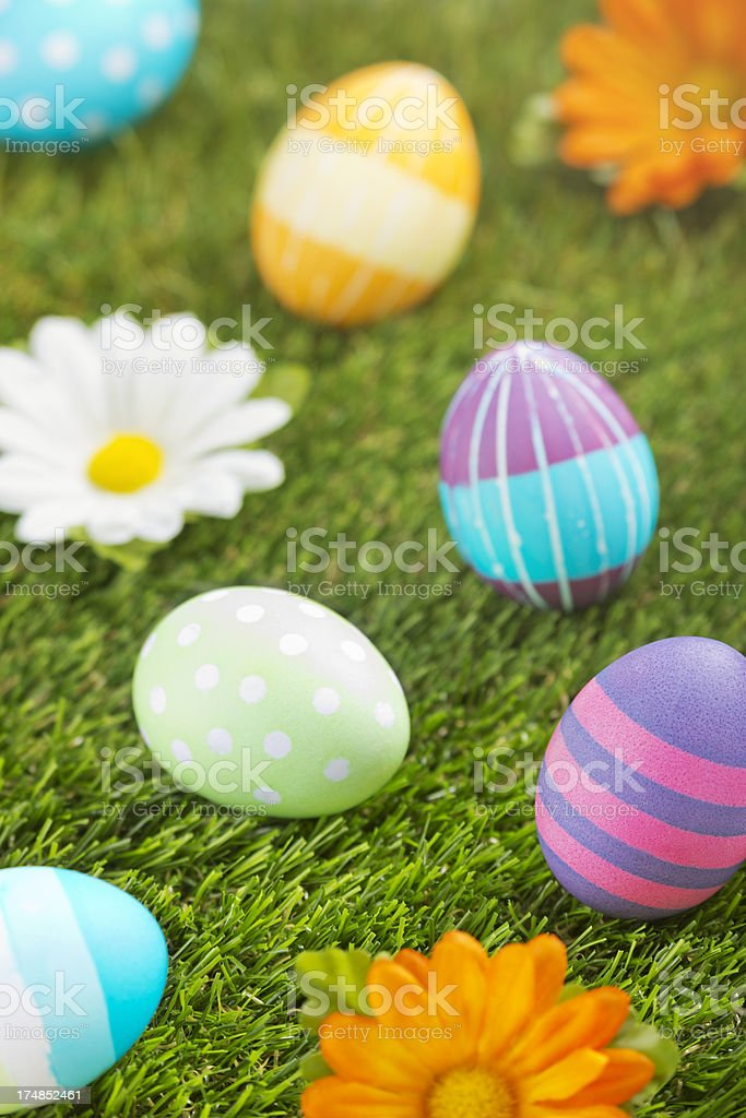 Colourful hand-painted Easter eggs lying in the grass royalty-free stock photo