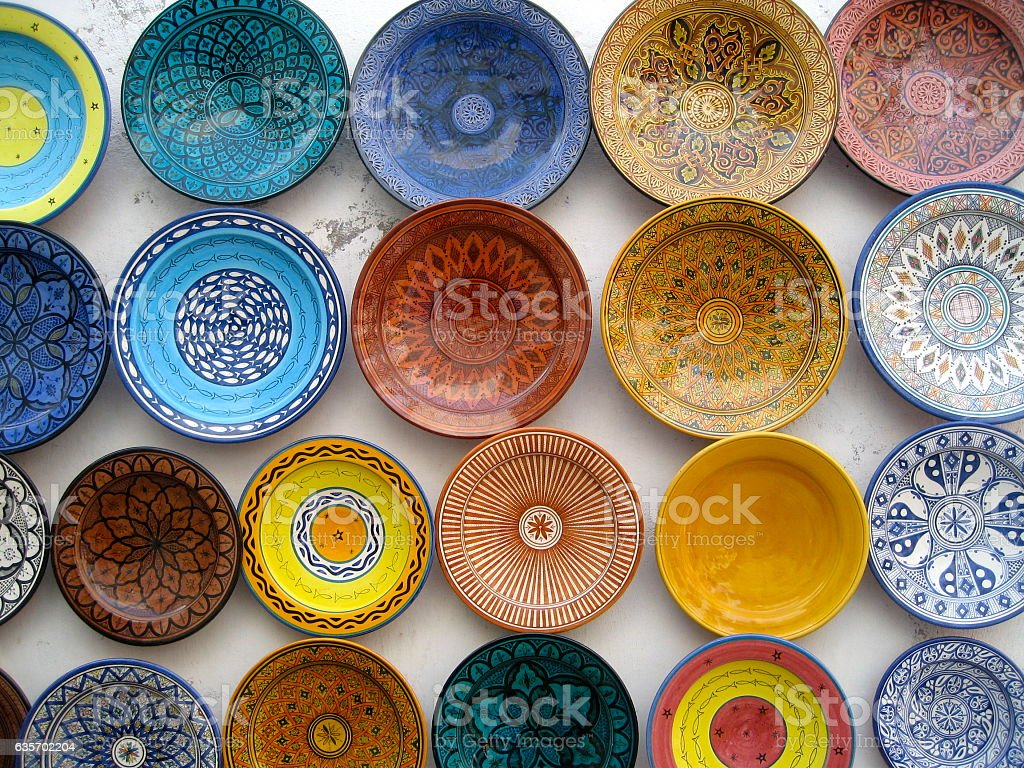 Colourful homemade plates royalty-free stock photo