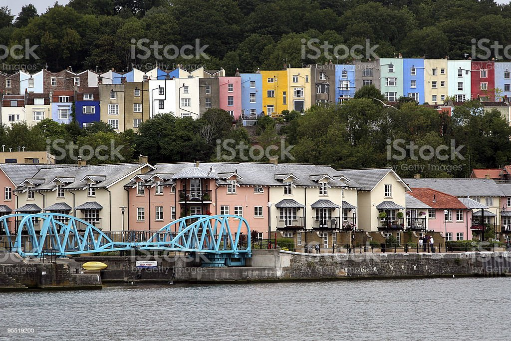 Colourful homes on the quay in Bristol stock photo