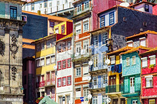 Colourful house facades in Porto old town