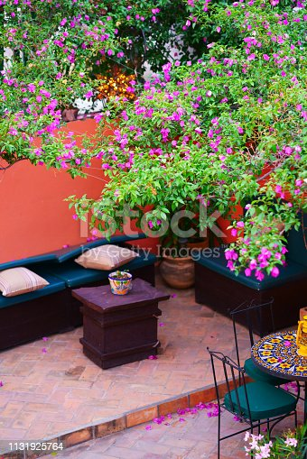Colourful house with courtyard in Guanajuato , Mexico