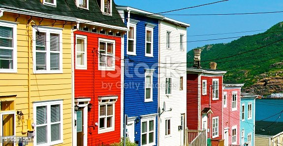 Colourful houses all in a row.
