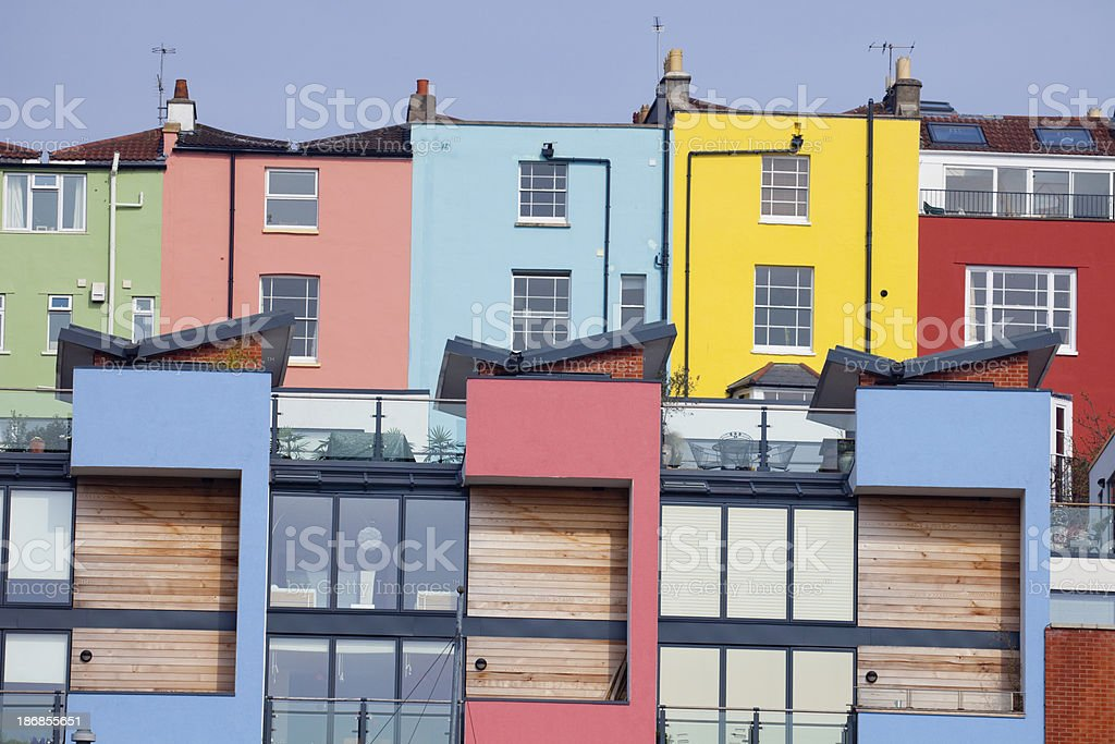 Colourful Houses And Apartments - Old plus New stock photo