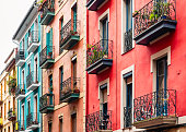 Colourful Houses Facade Building Architecture Balcony Old town Spain Europe city Travel