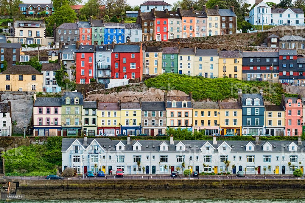 Colourful Houses in Cobh, Ireland stock photo