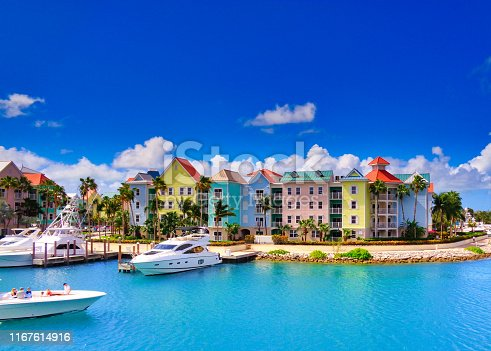 Pastel coloured waterfront houses in Nassau