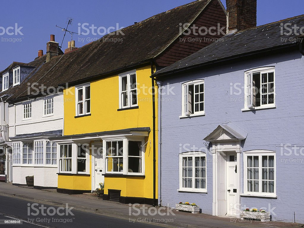 Colourful Houses in New Arlesford. Hampshire. England royalty-free stock photo