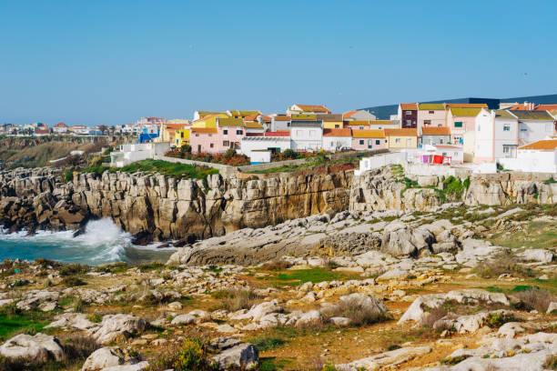 Bunte Häuser in Peniche, Portugal – Foto