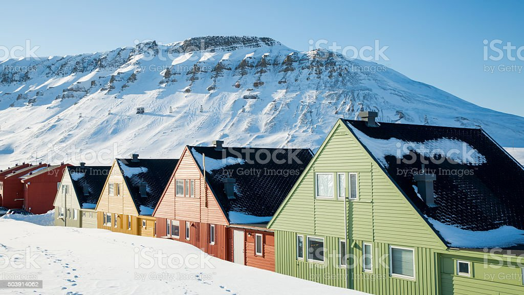 Colourful houses in the north of Europe stock photo