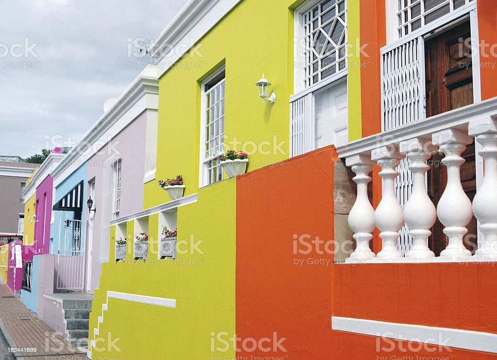 Colourful houses of Cape Town royalty-free stock photo
