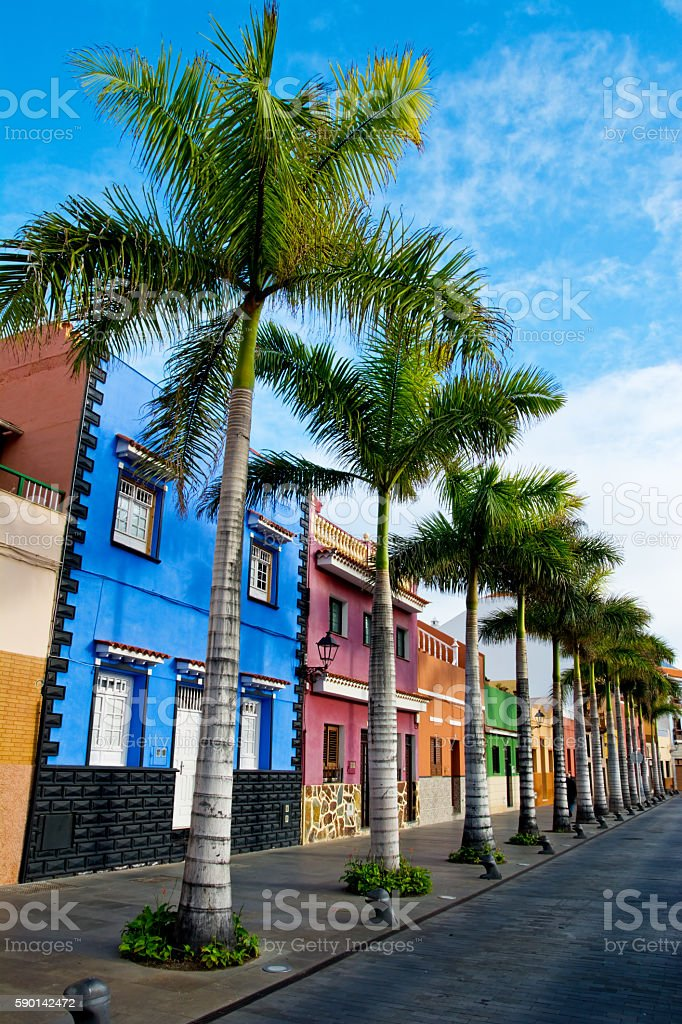 Colourful houses on street in Puerto de la Cruz, Tenerife stock photo