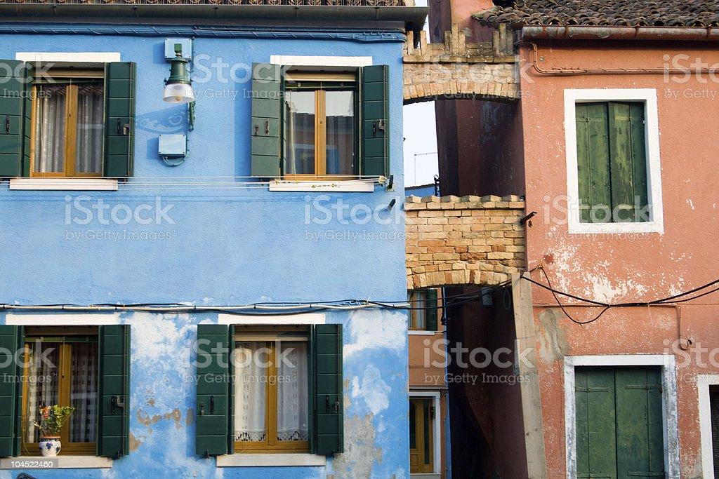 Colourful Houses Venice (Veneto) - bridge royalty-free stock photo