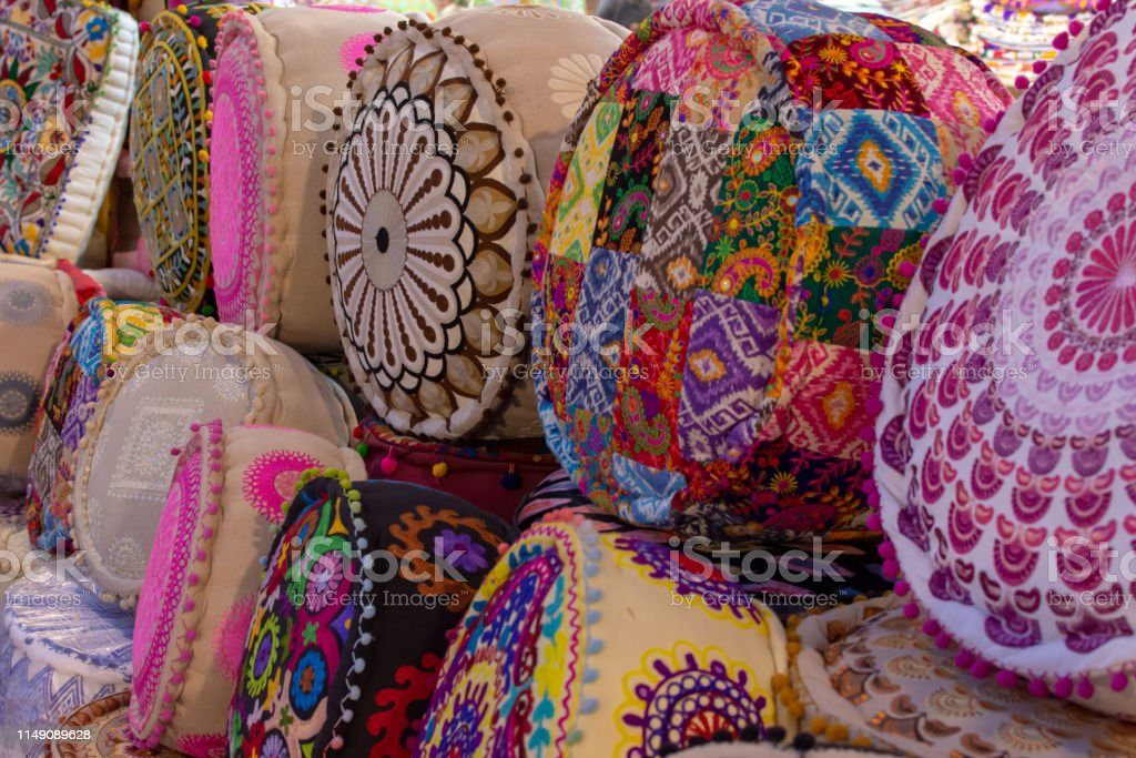 Colourful Indian Pillows lines up for sale in at Global Village...